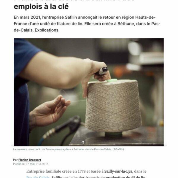 La première usine de filature de lin en France sera à Béthune