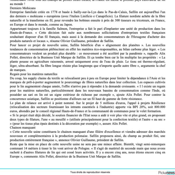 Le fil de lin français de retour dans le Nord/La Tribune/Safilin_3