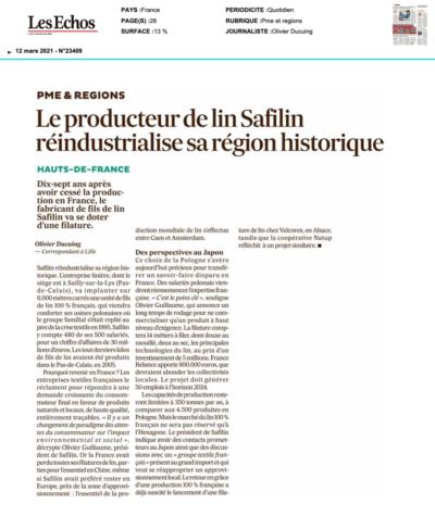 Le producteur de lin Safilin réindustrialise sa région historique/Les Echos/Safilin