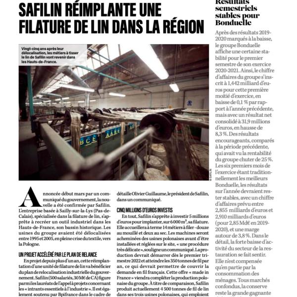 Safilin réimplante une filature de lin dans la région/JDE/Safilin